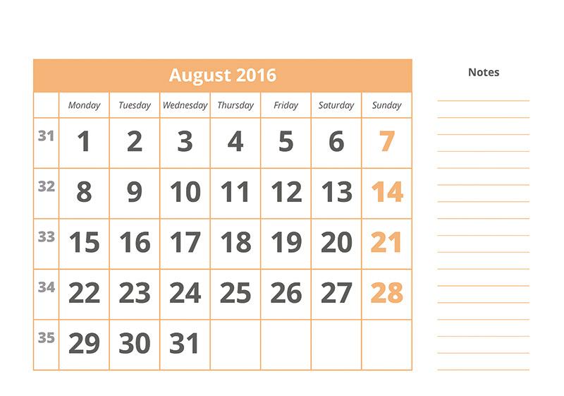 Calendario 1 mes con notas - Ara Profi