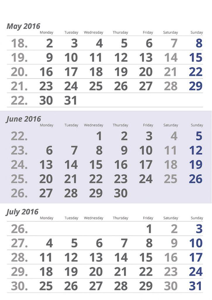 Calendario 3 meses - Ara Profi