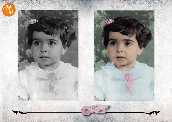 Colorización foto antigua de mi tía - Natalia Ortiz