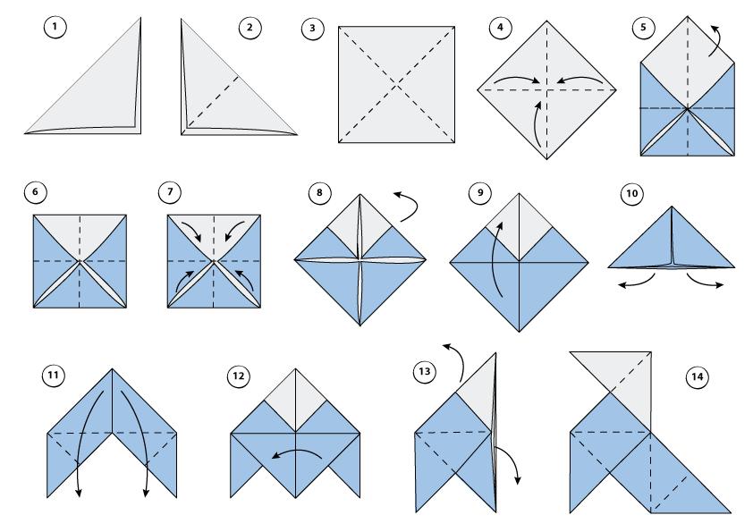 Ilustración pasos para hacer pajarita de origami