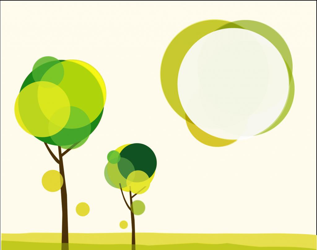 Ilustración árboles con transparencias y opacidad