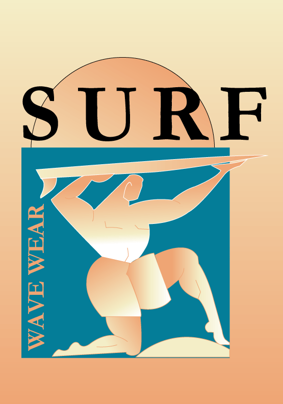 Cartel SURF degradados en Illustrator