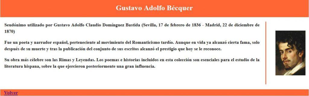 Página responsive de Escritores españoles - Becquer - Inicio