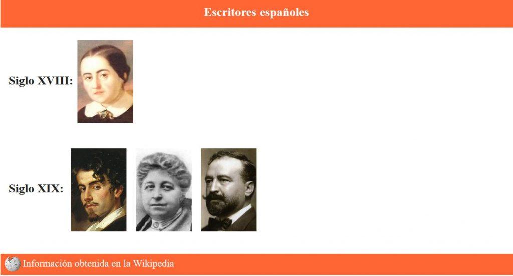 Página responsive de Escritores españoles - Inicio