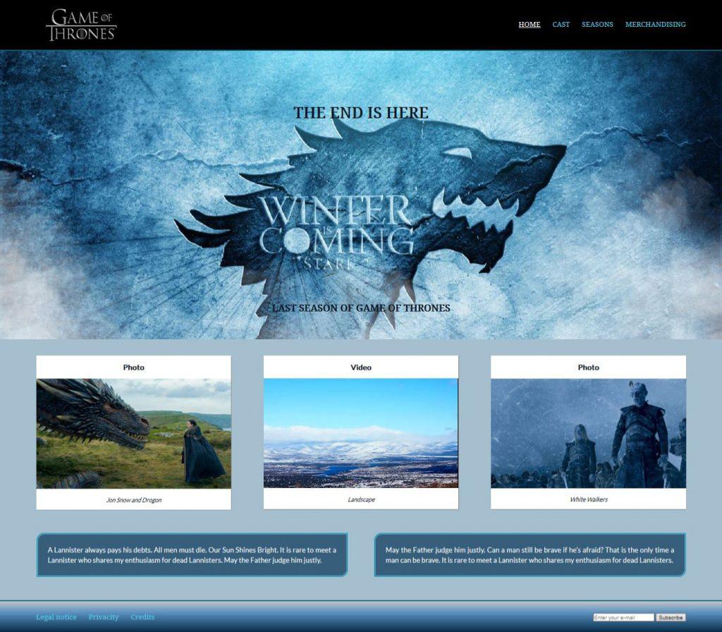 Diseño gráfico y web en Zaragoza - Página web juego de tronos