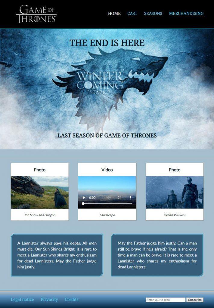 Diseño web Juego de Tronos